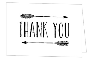 Rustic Black Arrows Thank You Card