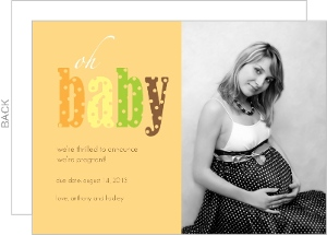 Yellow Oh Baby Pregnancy Announcement