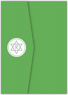Modern Green Stripes Pocketfold Bat Mitzvah Invitation