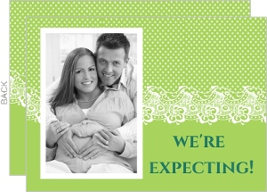 Green Lace And Dots Pregnancy Announcement