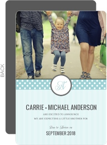 Blue Stripes and Polka Dots Pregnancy Announcement