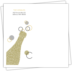 Gold Glitter Champagne Bubbly Custom Envelope