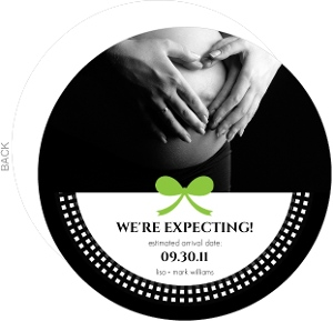 Classy Black And Green Pregnancy Announcement