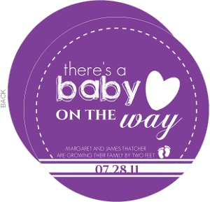 Purple Baby On Way Pregnancy Announcement
