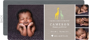 Woodgrain Giraffe Safari Sibling Birth Announcement