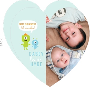 Pale Blue Monster Sibling Birth Announcement