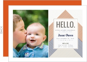 Blue and Orange Stripe Sibling Baby Announcement