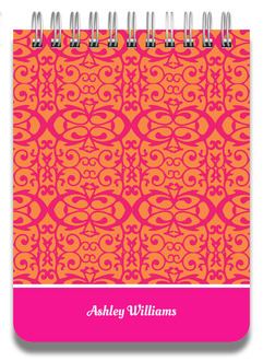 Pink and Orange Damask Notepad