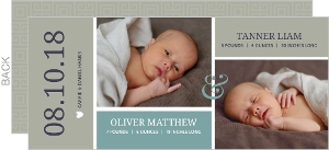 Brown Modern Blocks Twin Birth Announcement