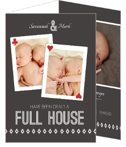 Poker Full House Funny Birth Announcements
