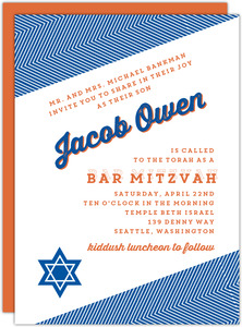 Blue and Orange Modern Chevron Bar Mitzvah Invitation
