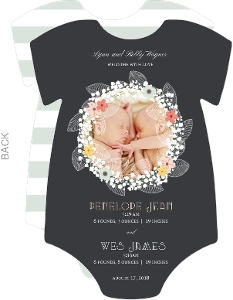 Boy and Girl Green Onesie Twins Birth Announcement