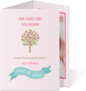 Family Tree Twin Girls Announcement Card