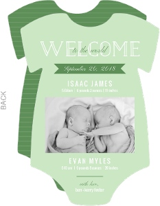 Green Stripes and Onesie Girl and Boy Twin Announcement
