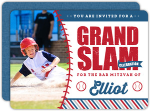 Rustic Fun Photo Baseball Bar Mitzvah Invitation