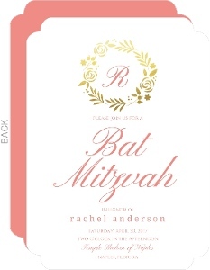 Classic Pink Gold Foil Wreath Bat Mitzvah Invitation