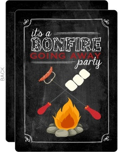 Chalkboard Bonfire Going Away Party Invitation