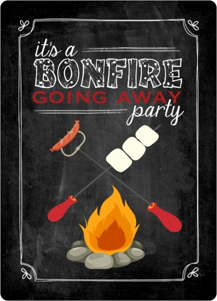 chalkboard bonfire going away party invitation - Bonfire Party Invitations