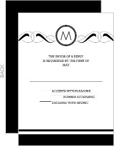 Formal Monogram Silver Foil Bar Mitzvah Response Card