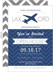 Blue Chevron Plane Farewell Open House Invitation