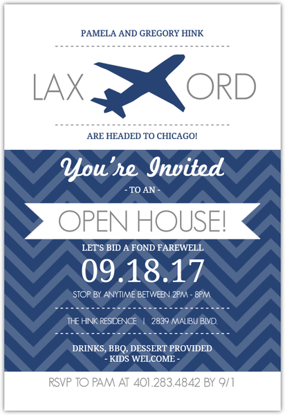 Going Away Party Invitations and Going Away Invitations – Open House Party Invitation