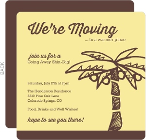 Yellow And Brown Palm Tree Going Away Invitation