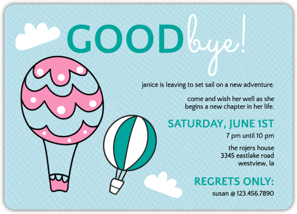 going away party invitations and going away invitations, invitation samples
