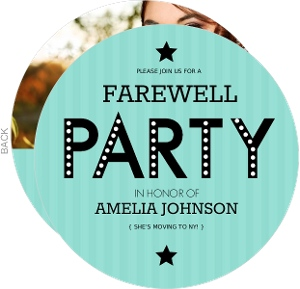 Turquoise Stripe Farewell Party Invite