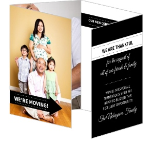 Black And White Quadfold Moving Party Invite