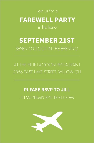 Green Modern Farewell Party Invitation | Going Away Party Invitations