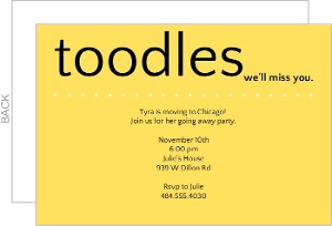 Toodles Yellow Going Away Invite