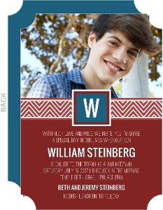 Chevron Band Monogram Bar Mitzvah Invitation