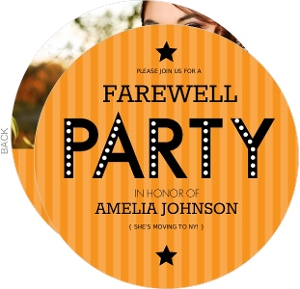 Orange Stripe Farewell Party Invite