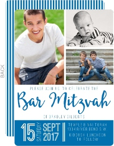 Modern Photo Collage Bar Mitzvah Invitation