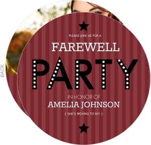 Maroon Stripe Farewell Party Invite