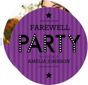 Purple Stripe Farewell Party Invite