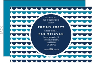Blue Scallop Pattern Bar Mitzvah Invitation