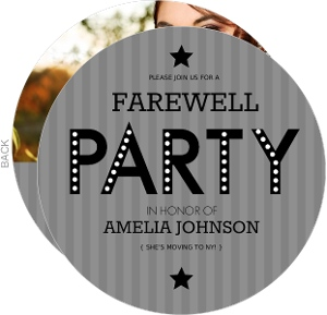 Gray Stripe Farewell Party Invite
