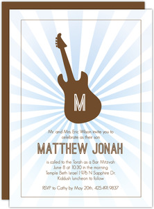 Brown and Blue Guitar Bar Mitzvah Invitation