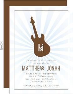 Brown and Blue Guitar Bar Mitzvah Invitation