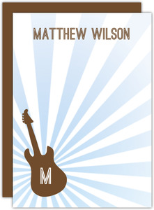 Brown and Blue Guitar Bar Mitzvah Thank You Card