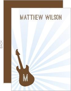 Brown and Blue Guitar Bar Mitzvah Thank You Card