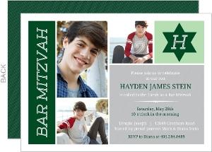 Green & Gray Monogram Photo Bar Mitzvah Invitation