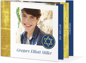 Elegant Faux Foil Booklet Bar Mitzvah Invitation