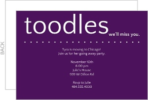Toodles Purple Going Away Invite
