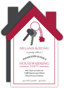 Cute House Keychain Housewarming Invitation