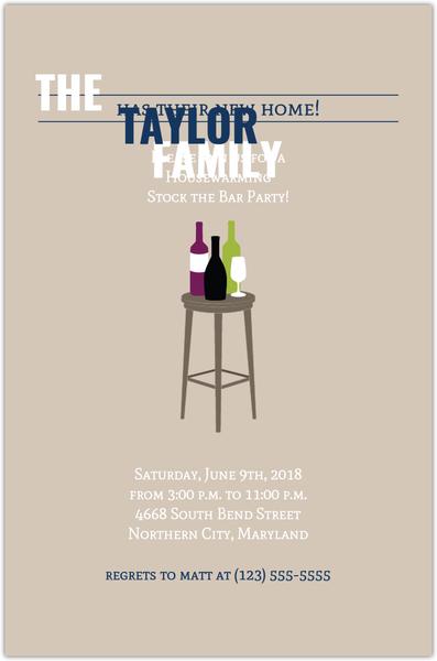 stock the bar housewarming party invitation