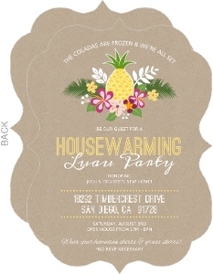 Kraft Floral Pineapple Housewarming Luau Party Invitation