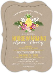 Kraft Floral Pineapple Housewarming Luau Party Invitation