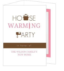 Pink And Brown Housewarming Set Trifold Invitation